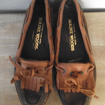 Vintage Maine Woods Moccasin Loafers Woman's size 7 M ~ Chocolate Brown and Caramel Tan