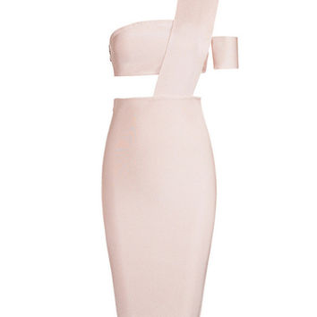 Eloise Pink Asymmetric Cutout Detail Bandage Dress