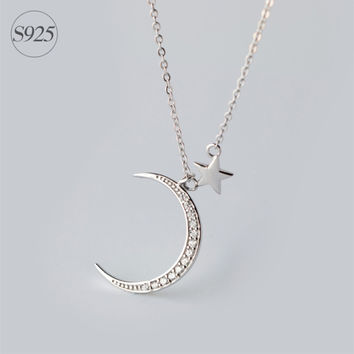 Guardian Star 925-sterling-silver Rhinestone Crescent & Star Pendent Necklace | Cute Sailor Moon Sterling-silver-jewelry Gifts