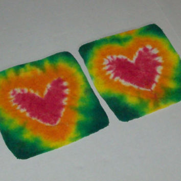 Rasta Heart  Tie Dye Wash Cloth Set Any Color by OriginalAccents