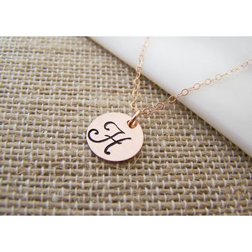 Rose Gold Filled Stamped Initial Disc Monogrammed Necklace