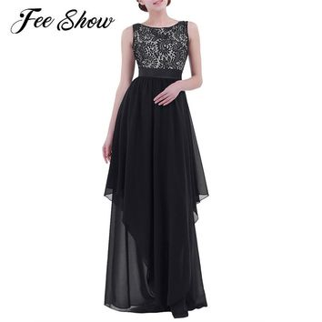 Womens Elegant Sleeveless Long Dress Floor-Length Lace Backless Vestido De Festa Maxi Cocktail Party Ball Prom Gown Formal Dress