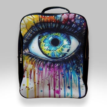 Backpack for Student - Big Eye Watercolor Bags