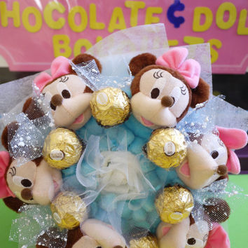 Mickey Plush Doll Flower Bouquet with Ferrero Rocher Chocolates. Great baby shower/ birthday gift!