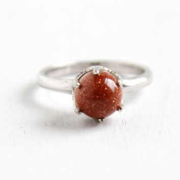 Vintage Sterling Silver Goldstone Ring - 1960s Retro Size 5 1/4 Signed Vargas Solitaire Sparkly Jewelry