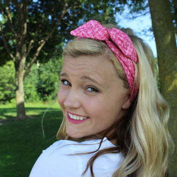 Pink Gingham and Paisley Wired Headband Dolly Band Retro Summer Trend Headwrap