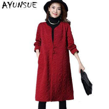 Vintage Chinese Style Wine Red Windbreaker Women Trench Coat Para As Mulheres Coat Female Spring Autumn Female Coats FYY259