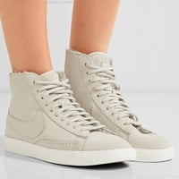 Nike - Blazer Mid suede and shearling high-top sneakers
