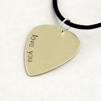 I Love You Guitar Pick Necklace in Sterling Silver