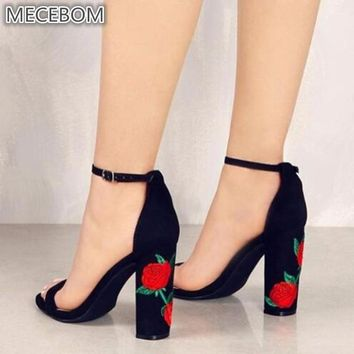 Suede Shoes Woman Sandal Embroider High Heel Women Sandals Ethnic Flower Floral Party Shoes Plus Size Zapatos Mujer 1117W
