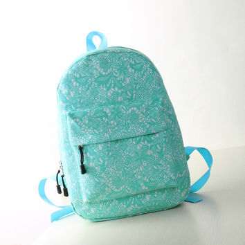 Women's Students School Bags Lace High Quality Double Shoulder Bag Canvas Green Backpack