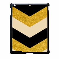 Chevron Classy Black And Gold Printed iPad 2 Case