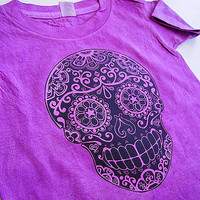 Boys Purple skull shirt 2T 3T 4T trendy toddler clothes. Vintage look punk kids top skater tshirt girls tee shirt. Hand dyed hipster unisex