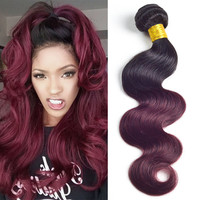 Beyo queen hair products brazilian body wave 4 pcs brazilian virgin hair ombre 1b/burgundy free shipping ombre brazilian hair