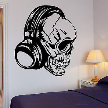 Headphones Wall DecalMusic Skull Cool Decor Rock Pop For Bedroom (z2735)