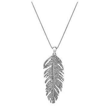Geerier Simple Silver Metal Chain Pendant Feather Necklace With Crystal Synthetic Diamond