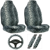 Leopard Gray 5 Pc Seat Cover Set