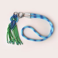 Bright bead crochet necklace, rope, lariat with micro macrame pendant - Blue Green Unique OOAK