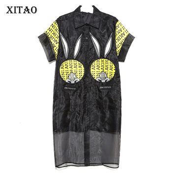 [XITAO] 2017 Europe fashion new summer casual style women appliques turn down collar patchwork mesh mid-calf length dress LL143