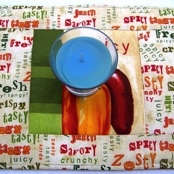 Mouse Pad, Place Mat, Mug Rug, Snack Mat, Colorful Peppers