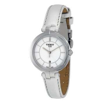 Tissot Flamingo White Dial White Leather Strap Ladies Quartz Watch
