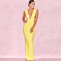 High Quality Yellow V-neck Sleeveless Long Rayon Bandage Dress Cocktail Party Bodycon Dress