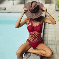 Fashion Solid Color Hollow Multi-rope Bandage One Piece Swimwear Bikini Swimsuit