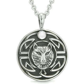 Amulet Courage Wisdom Wolf and Ancient Viking Celtic Knot White Cats Eye Powers Pendant 18 Inch Necklace