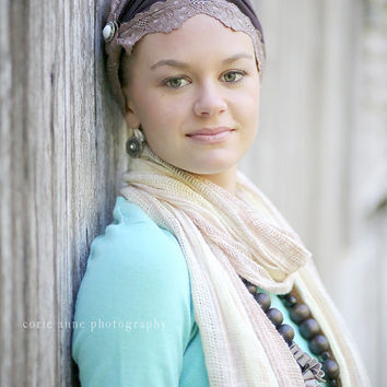 Hair wrap ,Vintage brown lace trim  Wide Stretchy  Fashion women's  Headband.. hair band  head wrap