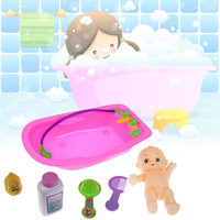 6Pcs Baby Bath Kits Newborn Infant Baby Plastic Doll in Bath Tub With Duck Bathroom Accessories Set Kids Pretend Play