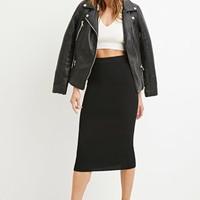 Contemporary Ribbed Knit Pencil Skirt