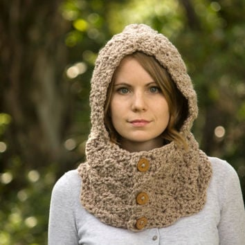 Crochet Hooded Cowl, Oatmeal, Beige, Tan, Taupe Neckwarmer with Hood