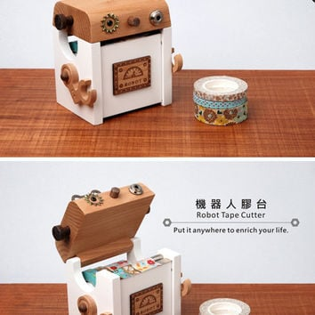 wood robot Washi Tape Holder, wood case, Tape Dispenser