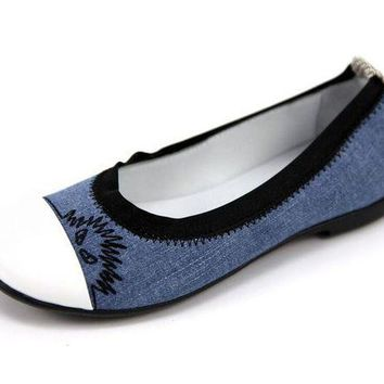 NOV9O2 Fendi Girls Denim Ballet Flats