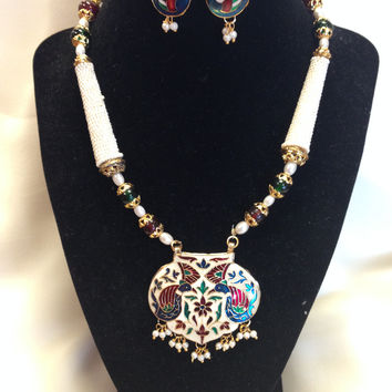 Rajasthani Unique White-Gold Meenakari Work With Blue-Red Twin Peacock Pendant Set
