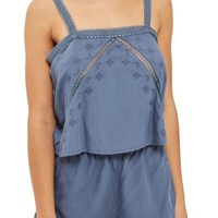 Topshop Slate Broderie Camisole & Sleep Shorts | Nordstrom