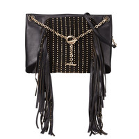 Alexia Studs and Fringe Shoulder Bag, Black
