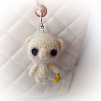 Cell Phone Accessory Cell phone Dust Plug Bag Charm Amigurumi Bear Crochet Teddy Bear Headphone Jack Dust Plug Kawaii Birthday Gift