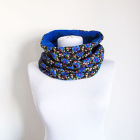 Blue Winter Neckwarmer, Two Sided, Ethnic Turkish Cotton and Fleece, Scarf, Women Accessories