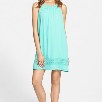 Junior Women's Everly Lace Trim Trapeze Dress,