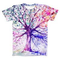 The Abstract Colorful WaterColor Vivid Tree V2 ink-Fuzed Unisex All Over Full-Printed Fitted Tee Shirt
