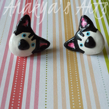Husky,Dog,Puppy,Earring,Stud,Stud earring,Dog earring,Cute,Pets,Jewelry,Animal