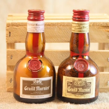 Salt & Pepper Shaker from Upcycled Glass Grand Marnier Mini Liquor Bottles