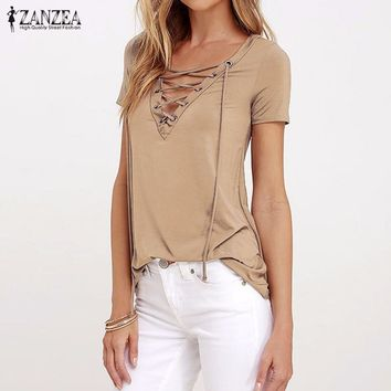 ZANZEA Women 2018 Summer Sexy V Neck Blouses Short Sleeve Casual Hollow Out Lace Up Solid Shirts Blusas Tee Tops Oversized