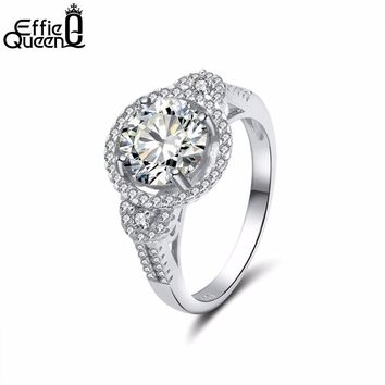 Effie Queen Silver Color Classic Simple Design Sparkling Cubic Zirconia Forever Wedding Ring for Women DOR106