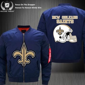 Dropshipping USA Size Men MA-1 Jacket Football Team New Orleans Saints Flight Jacket Costume Design Printed Bomber Jacket made