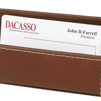 Dacasso Office Desk Decorative Storage Organizer Rustic Brown Leather Business Card Holder