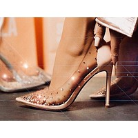 Fashion hot-selling diamond transparent thin ultra-high heel single shoes