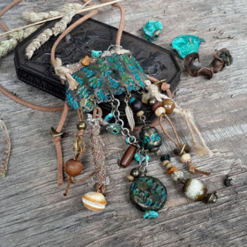 Rustic  tribal statement assemblage pendant, boho necklace, rustic pendante, poilymer clay, ethnic beads, collier tribal rustique, pendant