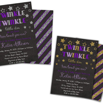 Purple Baby Shower invitation - Girl Baby Shower Invites - Twinkle Twinkle Shower - Purple Lavender - Faux Gold Glitter Silver Glitter Stars